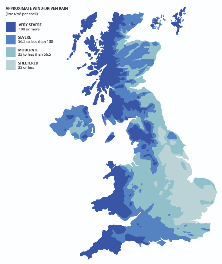 Exposure to Wind Driven Rain in the United Kingdom